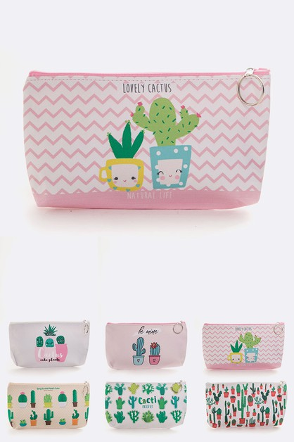 Cactus Printed Makeup Pouch Set - orangeshine.com