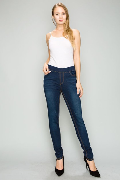 Mid Rise Distressed  Stretch Jegging - orangeshine.com
