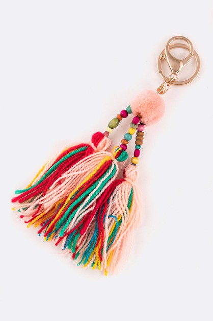 Mix Yarn Tassel Boho Key Chain - orangeshine.com