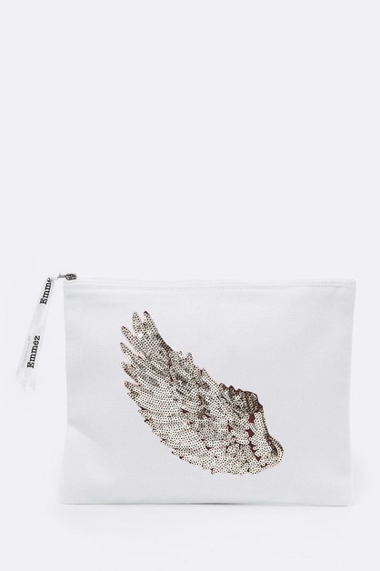 Silver Wing Sequins Canvas Pouch - orangeshine.com
