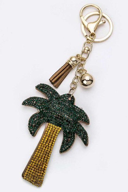 Soft Crystal Palm Tree Key Charm - orangeshine.com