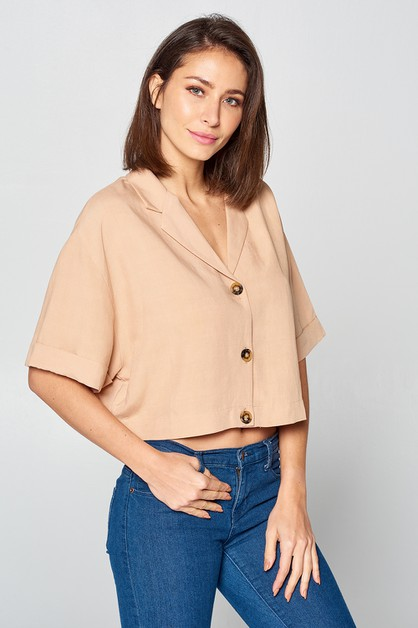 Solid Button Down Crop Top - orangeshine.com