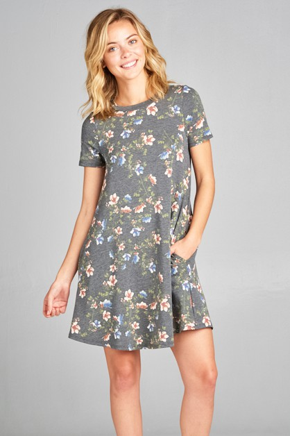 SHORT SLEEVE SIDE POCKET MINI DRESS - orangeshine.com