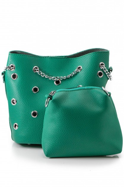 Punk Hole Punched Chain Shoulder Bag - orangeshine.com