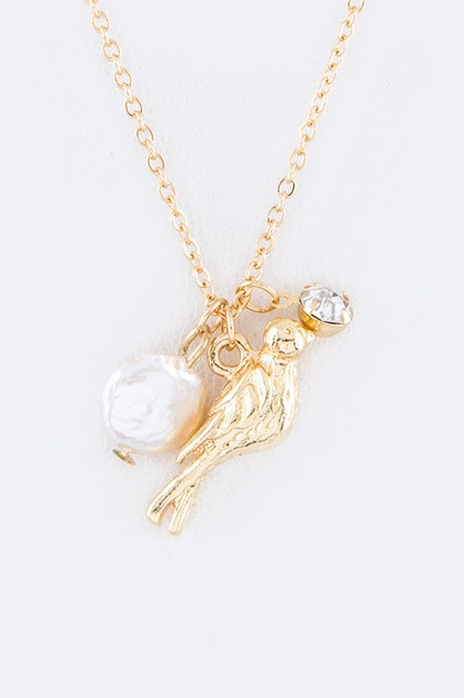 Pearl and Bird Charms Necklace Set - orangeshine.com
