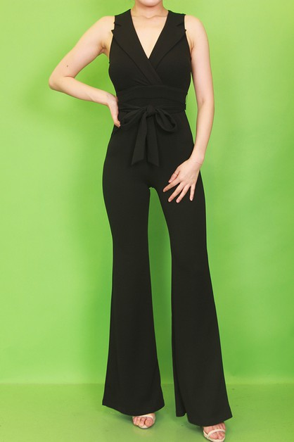 SOLID COLLAR BELL BOTTOM JUMPSUIT - orangeshine.com