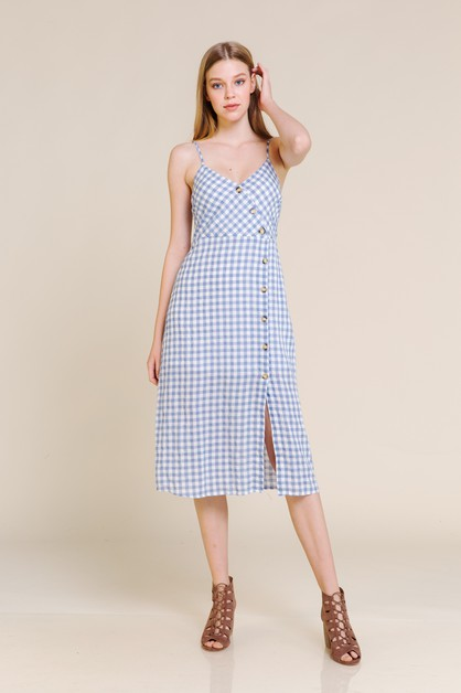 GINGHAM PLAID MIDI DRESS WITH LINING - orangeshine.com