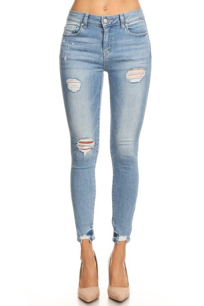 Distressed Cropped Skinny Jeans - orangeshine.com