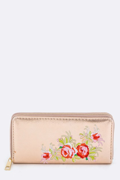 Rose Embroidery Metallic Wallet - orangeshine.com