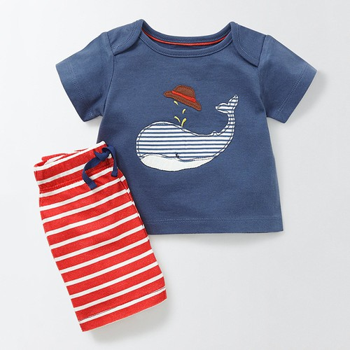 Boys Whale AppliqueT shirt short set - orangeshine.com