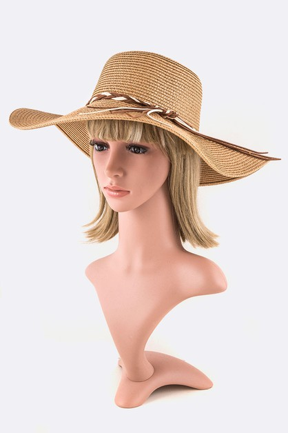 Braided Suede Band Straw Hat - orangeshine.com
