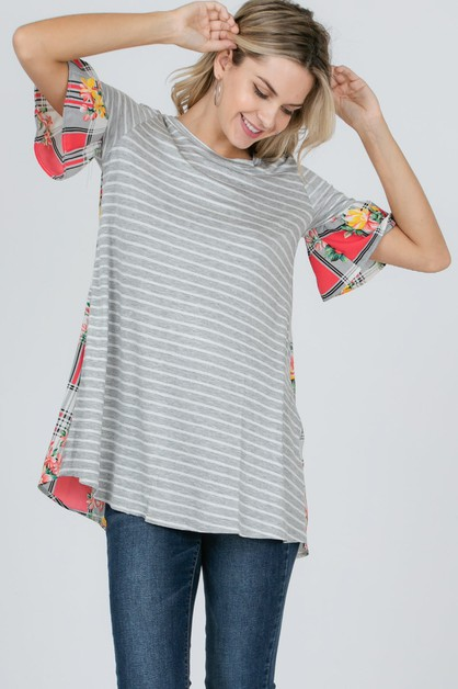 Stripe check flower print top - orangeshine.com