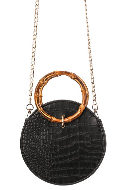 Round Faux Snakeskin Side Bag - orangeshine.com