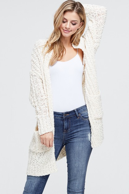 Rib Knit Cardigan With Pockets - orangeshine.com