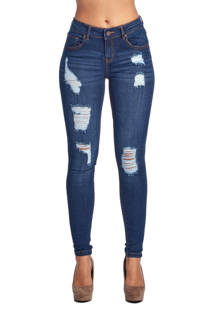 DESTROYED SKINNY DENIM JEAN - orangeshine.com