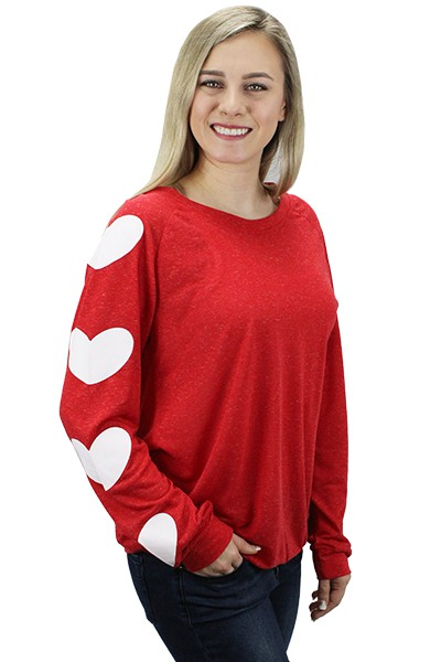 Valentines Day Heart Long Sleeve Top - orangeshine.com
