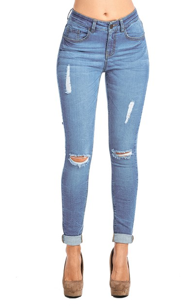 Women Destroyed Skinny Jeans  - orangeshine.com