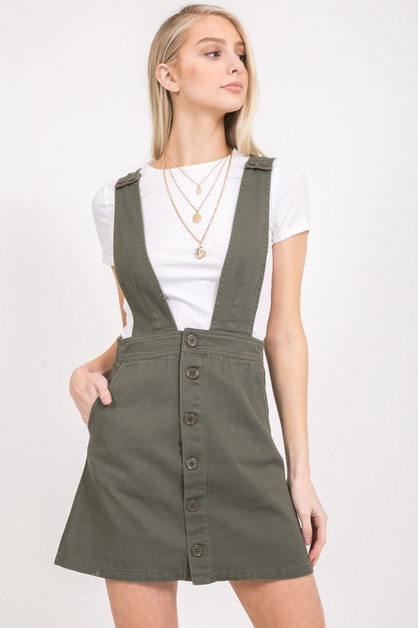 SOLID COTTON TWILL OVERALL SKIRTS - orangeshine.com