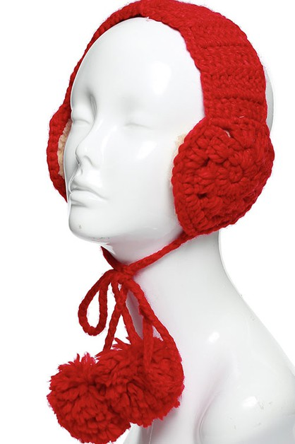 CABLE KNITTED EAR MUFF POM STRINGS - orangeshine.com
