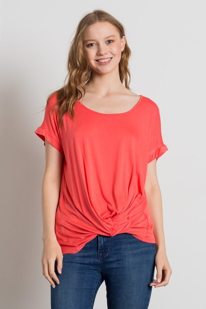 Knit Solid Twist Knot Top - orangeshine.com
