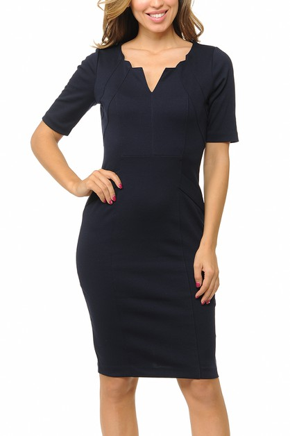 women short sleeve bodycon dress - orangeshine.com
