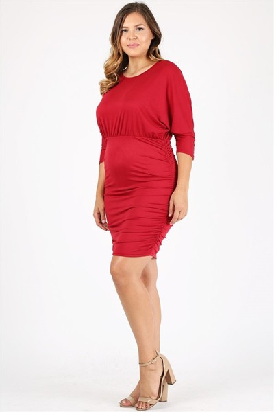Plus size 3-4 sleeve Solid Dress  - orangeshine.com