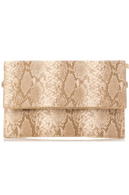 Faux Snakeskin Flap Clutch Bag - orangeshine.com
