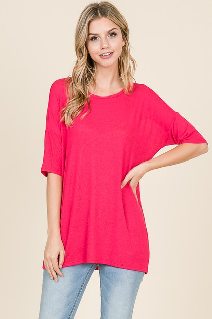 BASIC SOLID HALF SLEEVE TUNIC  - orangeshine.com