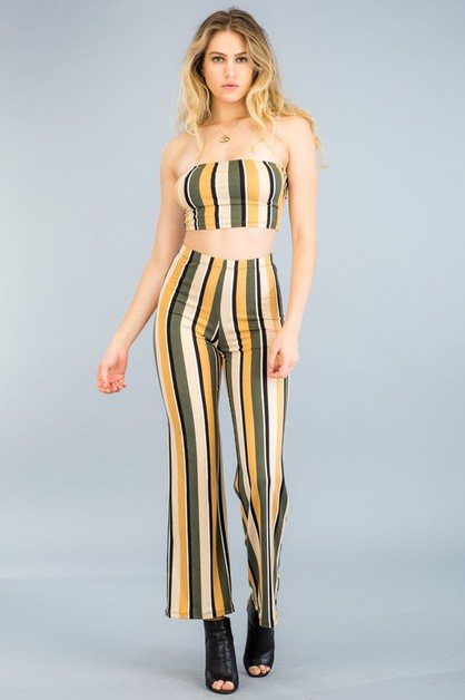 Cropped Tube Top and Pants Set - orangeshine.com