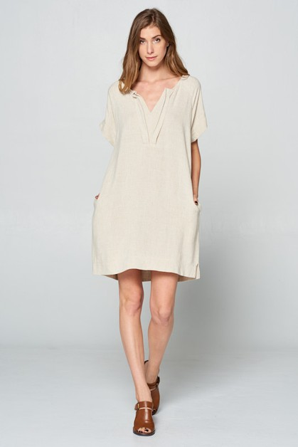 OATMEAL PLEATED NECK DRESS - orangeshine.com
