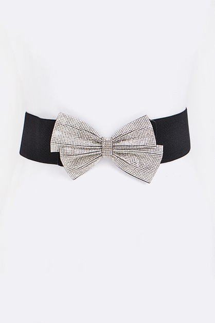 Crystal Bow Iconic Stretch Belt - orangeshine.com