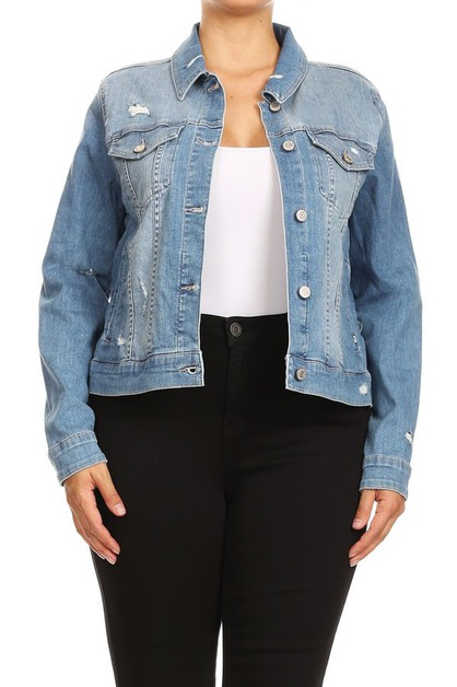 Plus Size Distressed Denim Jackets - orangeshine.com