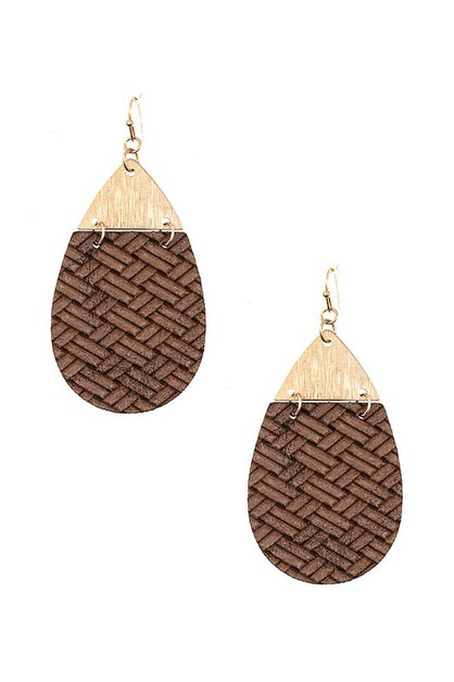 CROSS OVER PATTERN TEARDROP EARRING - orangeshine.com