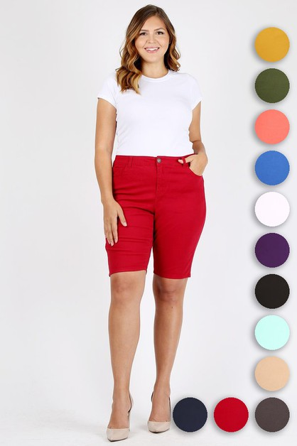 PLUS SIZE COLOR TWILL BERMUDA PANTS - orangeshine.com