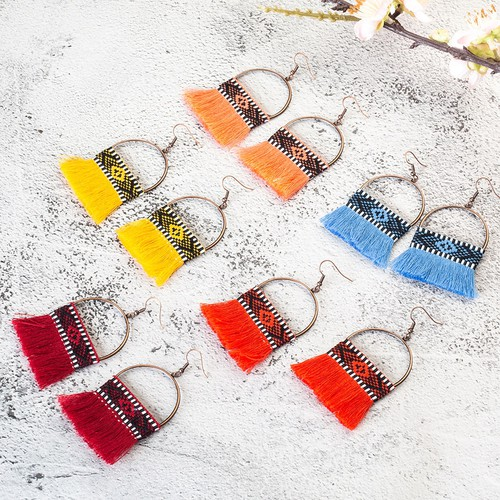Boho Tassel brush drop earrings - orangeshine.com