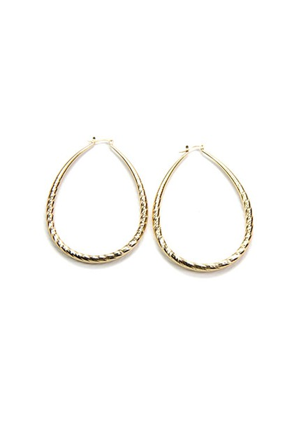 Etched Tear Drop Hoop Earring - orangeshine.com