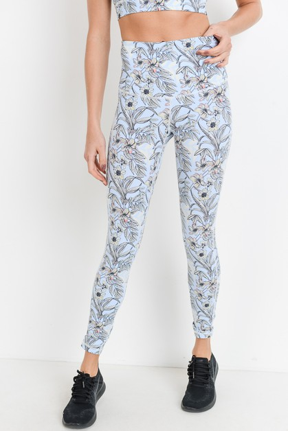 Highwaist Poppy Print Full Leggings - orangeshine.com
