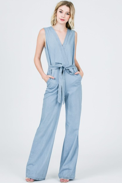 V-neck sleeveless waist tie jumpsuit - orangeshine.com