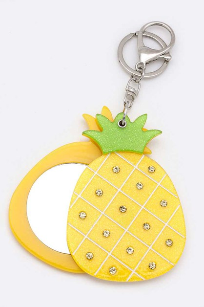 Pineapple Compact Mirror Key Set - orangeshine.com