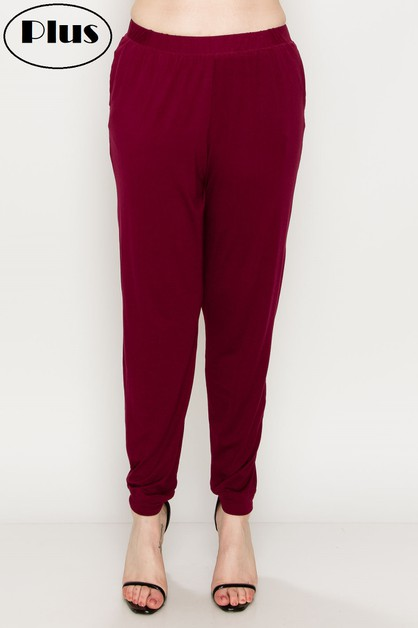 HIGH WAIST COLORED JOGGER PLUS PANTS - orangeshine.com