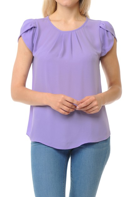 Petal Short Sleeve Pleated Woven Blo - orangeshine.com