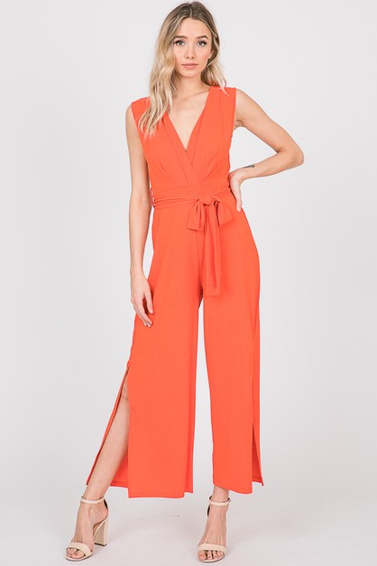 PLEATS SLEEVELESS JUMPSUIT - orangeshine.com