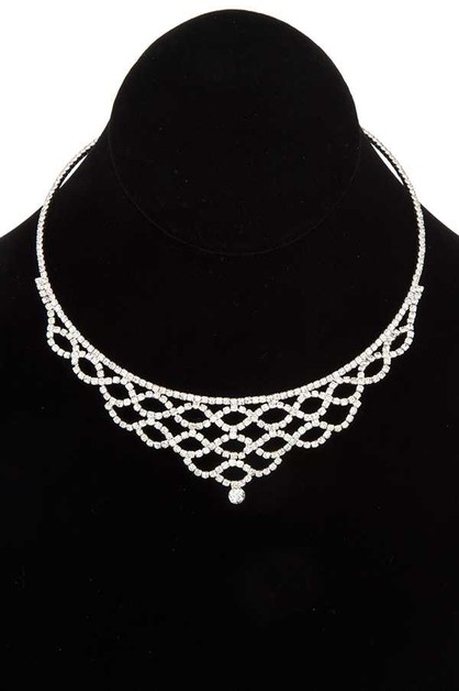 RHINESTONE PAVE FLEX CHOKER NECKLACE - orangeshine.com