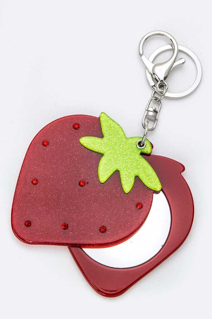 Strawberry Compact Mirror Key Charm - orangeshine.com