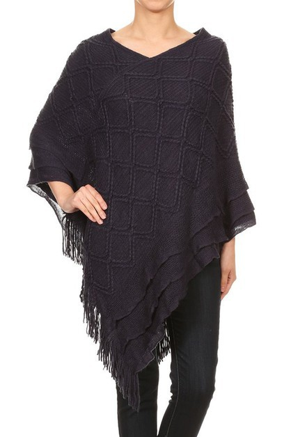 KNIT TIERED LOOK V-NECK PONCHO - orangeshine.com