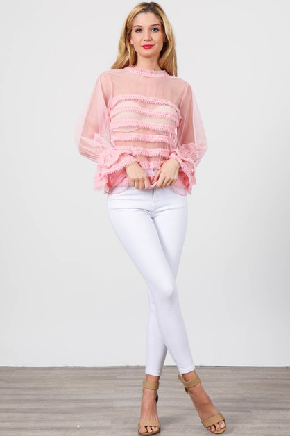 Long Sleeve Sheer Top - orangeshine.com