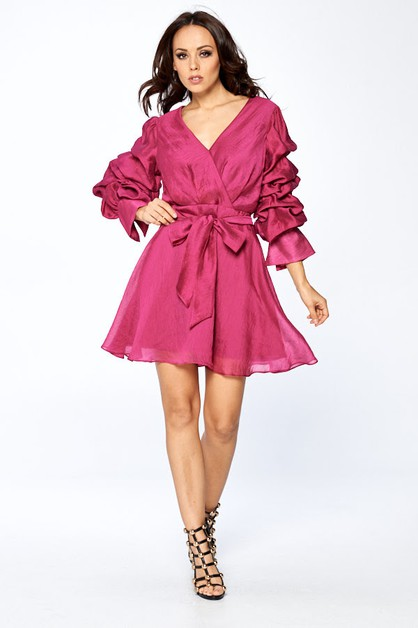 Long Sleeve Short Cocktail Dress - orangeshine.com
