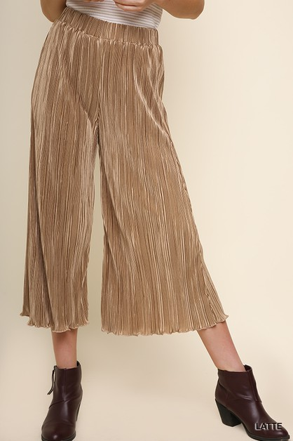 High Waist Wide Leg Elastic Pants  - orangeshine.com