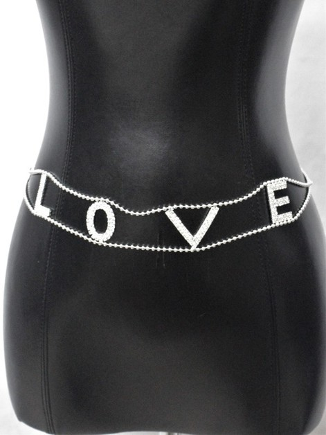 LOVE RHINESTONE METAL CHAIN BELT - orangeshine.com