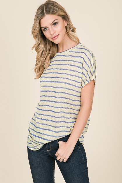 LOOSE FIT SHORT SLEEVE STRIPE TOP - orangeshine.com